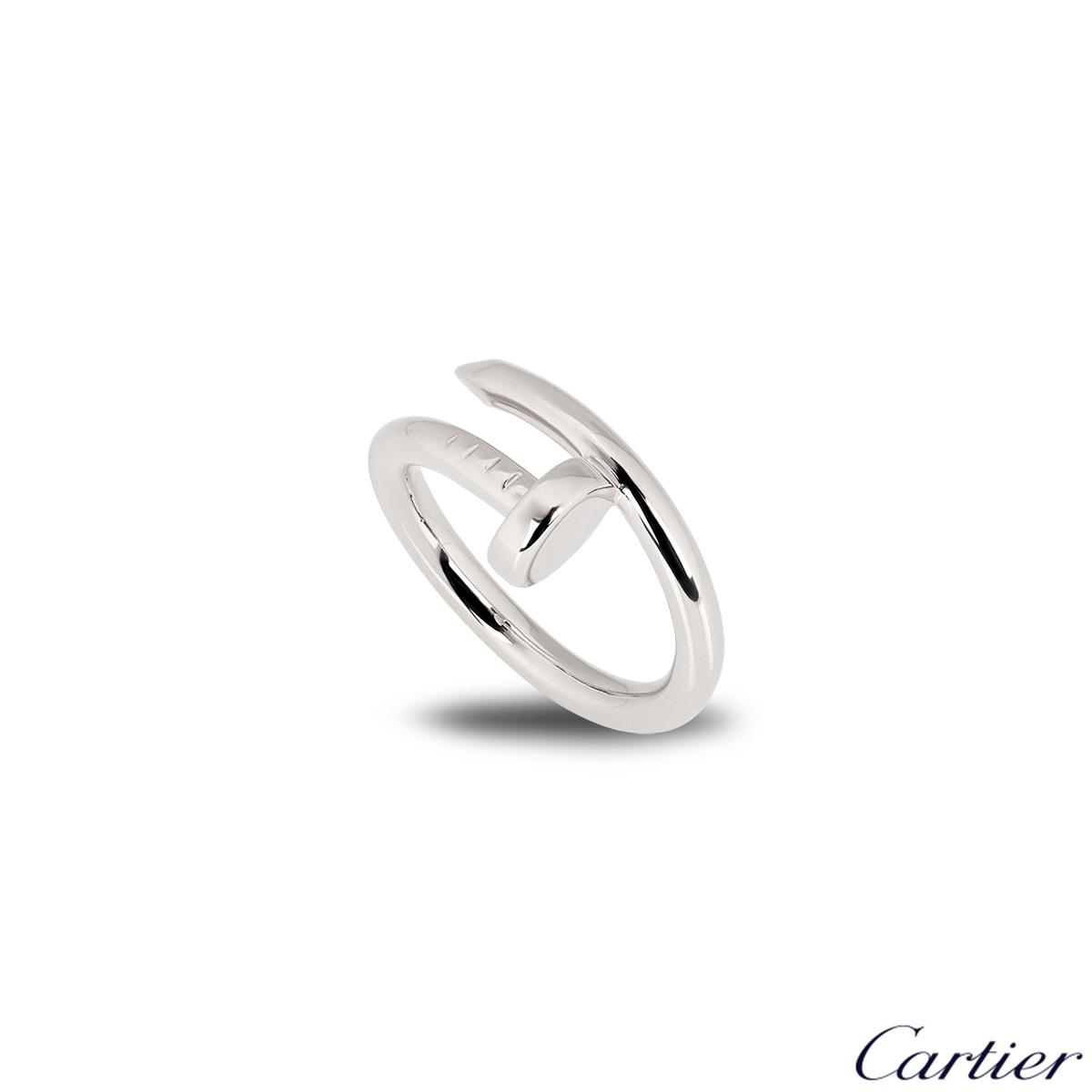 Cartier 18k White Gold Plain Juste Un Clou Ring Size 52 B4099200
